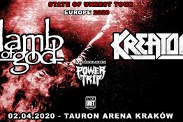 Kraków Wydarzenie Koncert Lamb Of God, Kreator + Power Trip